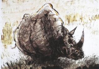 """""""Rhino # 14"""" - monotype © Bruce Waldman"""