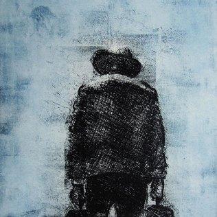 """Salesman,"" etching © Bruce Waldman"