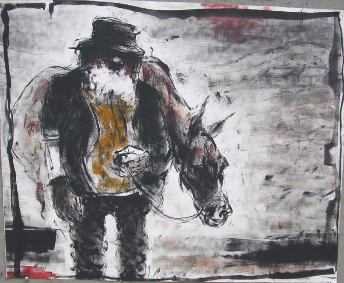 """Old Man with Old Horse,"" monotype © Bruce Waldman"