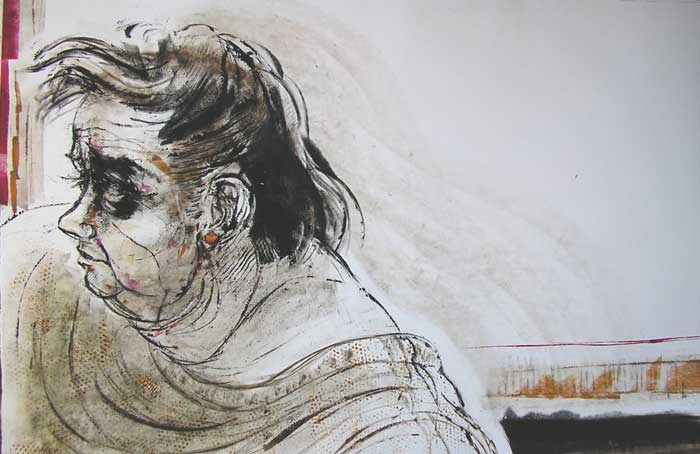 """""""Big Lady with Mullet,"""" monotype © Bruce Waldman"""