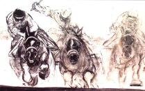 """Horse Race,"" monotype © Bruce Waldman"