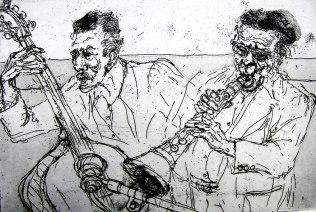 """Jazz,"" etching © Bruce Waldman"