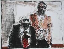 """""""Lawyer and Client,"""" monotype © Bruce Waldman"""