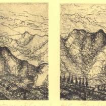 """Mountain Landscape,"" etching © Bruce Waldman"