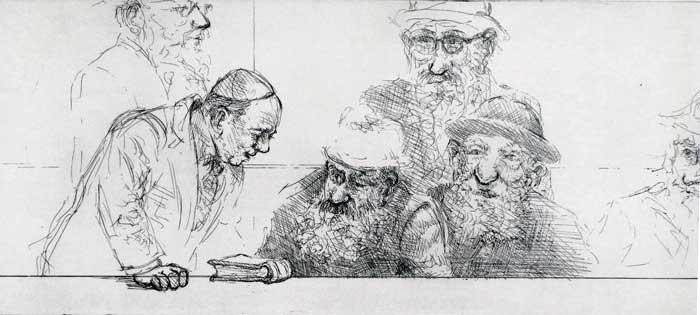 """Religious Debate,"" etching © Bruce Waldman"