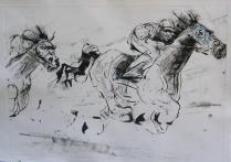 """Horses,"" monotype © Bruce Waldman"