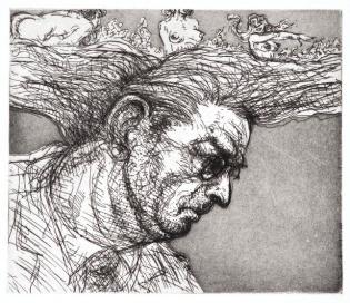 Etching © Bruce Waldman on exhibit at the Salmagundi Club in NYC, December 2016