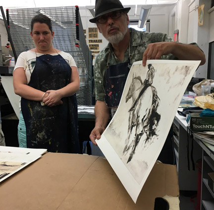 Bruce Waldman giving a monotype demo at the Robert Blackburn Printmaking Workshop, Feb. 2017