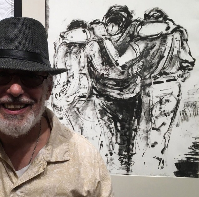 Bruce Waldman in front of his monotype, 'Heartbreak'.