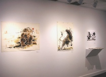 Monotypes by Bruce Waldman at the Pelham Art Center, March 2017.