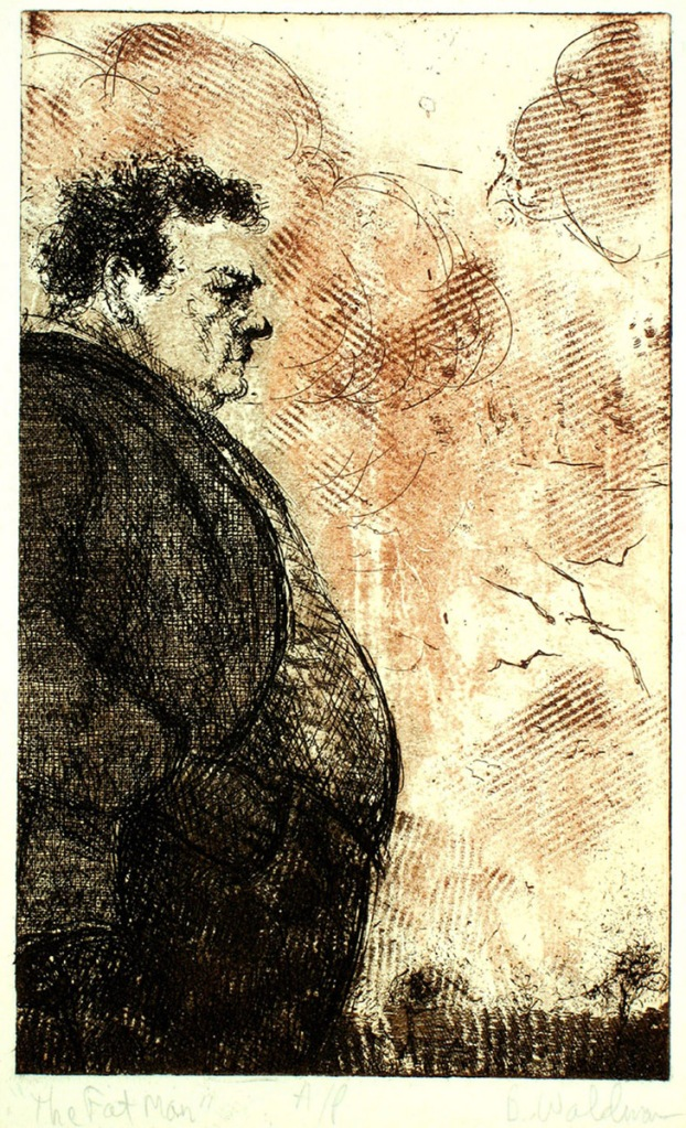 """Fat Man"" etching, © Bruce Waldman"